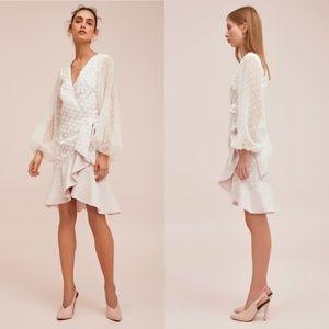 Keepsake Women Dress Ivory Wrap Polka Dots S nwt